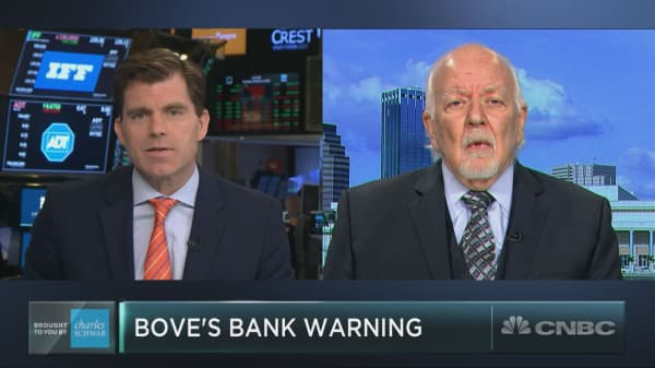 If you own bank stocks, veteran analyst Dick Bove says 'you better lighten up'