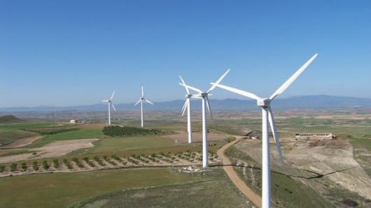 This image shows the La Muela 3 wind farm in Spain.