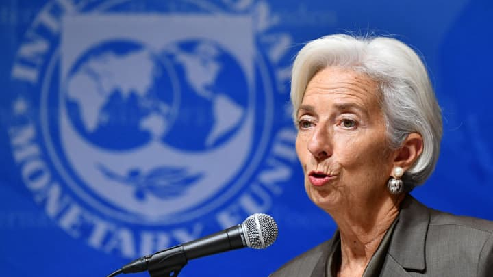 International Monetary Fund (IMF) managing director Christine Lagarde speaks during a press conference in Tokyo on October 4, 2018.