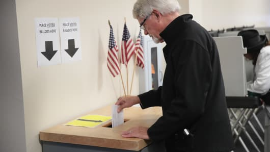 Voters cast ballots for the midterm elections at the Polk County Election Office on October 8, 2018 in Des Moines, Iowa.Today was the first day of early voting in the state.