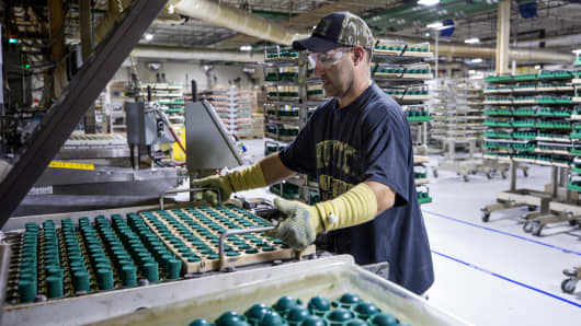 A worker loads a tray of green rubber to be molded into golfball cores at the Acushnet Holdings Corp. Titleist Ball Plant III facility in New Bedford, Massachusetts.