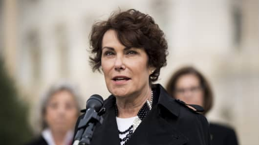 UNITED STATES - NOVEMBER 1: Rep. Jacky Rosen, D-Nev., speaks during the news conference at the Capitol on Wednesday, Nov. 1, 2017, to call on House Judiciary chairman Bob Goodlatte to hold a hearing and examine the use and legality of bump stocks.