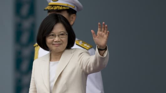 Taiwan President Tsai Ing-wen waves to the supporters at the celebration of the 14th presidential inauguration on May 20, 2016 in Taipei, Taiwan.