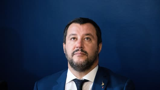 Matteo Salvini, Italy's deputy prime minister, looks on during a news conference with Marine Le Pen, leader of the French nationalist National Rally party, not pictured, on Monday, Oct. 8, 2018.