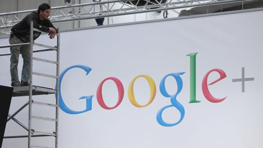 A worker pauses while preparing the Google stand the day before the CeBIT 2012 technology trade fair officially opens to the public on March 5, 2012 in Hanover, Germany.