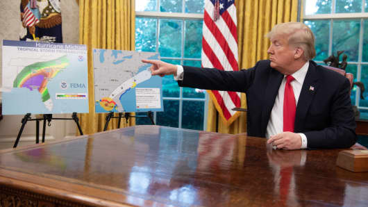 President Donald Trump speaks during a briefing on Hurricane Michael in the Oval Office of the White House in Washington, DC, October 10, 2018.