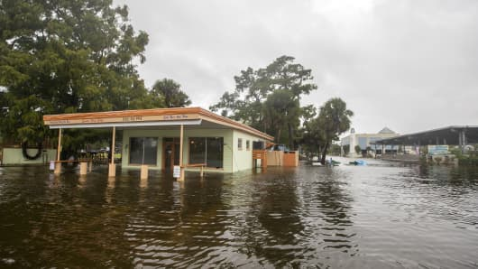 The Cooter Stew Cafe starts taking water in the town of Saint Marks as Hurricane Michael pushes the storm surge up the Wakulla and Saint Marks Rivers which come together here on October 10, 2018 in Saint Marks, Florida.  The hurricane is forecast to hit the Florida Panhandle at a possible category 4 storm.