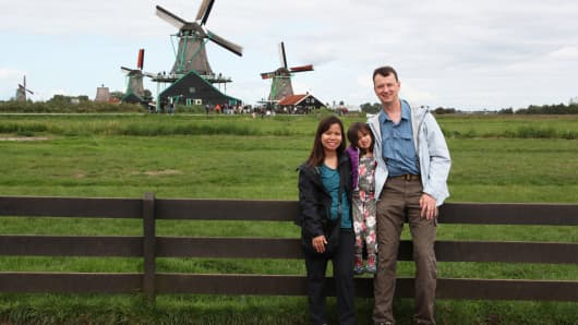 Karsten Jeske retired this year at 44. This is with him, his wife and daughter in Amsterdam.