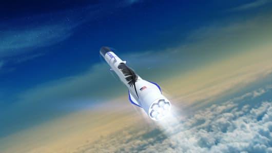 Artist rendering of Blue Origin's New Glenn rocket.
