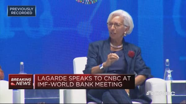 Lagarde speaks to CNBC at IMF-World Bank meeting