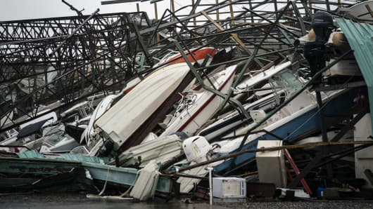 A warehouse of boats is seen damaged at Treasure Island Marina after category 4 Hurricane Michael made land fall along the Florida panhandle, on Wednesday, Oct. 10, 2018 in Panama City Beach, FL.