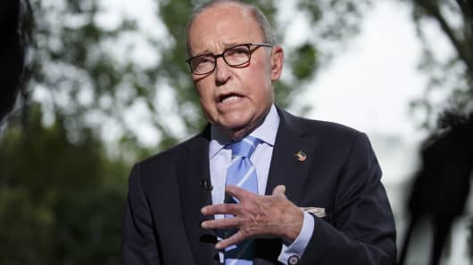 Larry Kudlow, director of the U.S. National Economic Council, speaks during a television interview outside the White House in Washington, D.C.