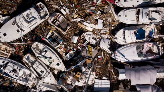 In this aerial view, storm damaged boats are seen in the aftermath of Hurricane Michael on October 11, 2018 in Panama City, Florida.