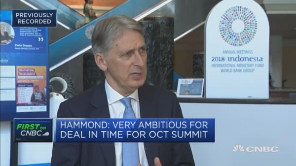 Hammond: More optimistic about Brexit now than I was couple weeks ago