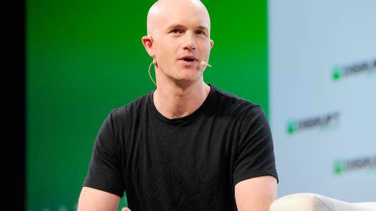 Coinbase co-founder and CEO Brian Armstrong speaking at TechCrunch Disrupt SF 2018.