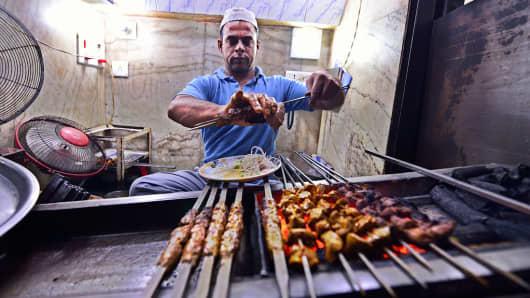 A view of chicken restaurant 'Babu Bhai Kabab Wale' in New Delhi, India.