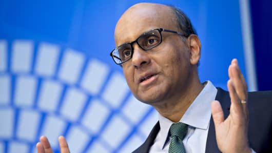 Tharman Shanmugaratnam, Singapore's deputy prime minister, speaks at a panel discussion during the spring meetings of the International Monetary Fund (IMF) and World Bank in Washington, D.C., U.S., on Wednesday, April 18, 2018.