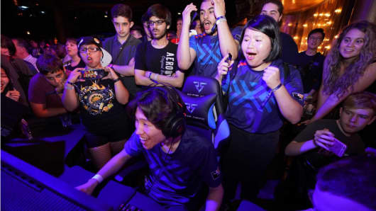 Fans cheer at an event hosted by the New York Excelsior, an esports team