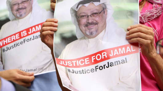 Protests in Washington over the  disappearance of prominent Saudi journalist Jamal Khashoggi on Oct. 10, 2018.