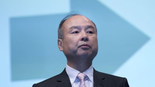 Corp. Chief Executive Officer Masayoshi Son speaks during a joint announcement with Toyota Motor Corp. to make new venture to develop mobility services in Tokyo, Japan, 04 October 2018.
