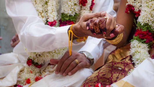 The rituals process in a Indian Hindu wedding.