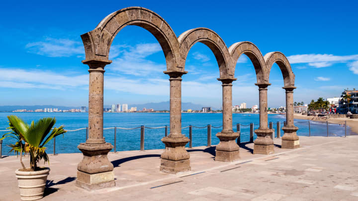 Arcos del Malecon sculpture in Puerto Vallarta originally brought from a colonial hacienda in Guadalajara, Mexico.