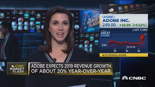 Adobe jumps after reaffirming 2018 revenue, EPS targets