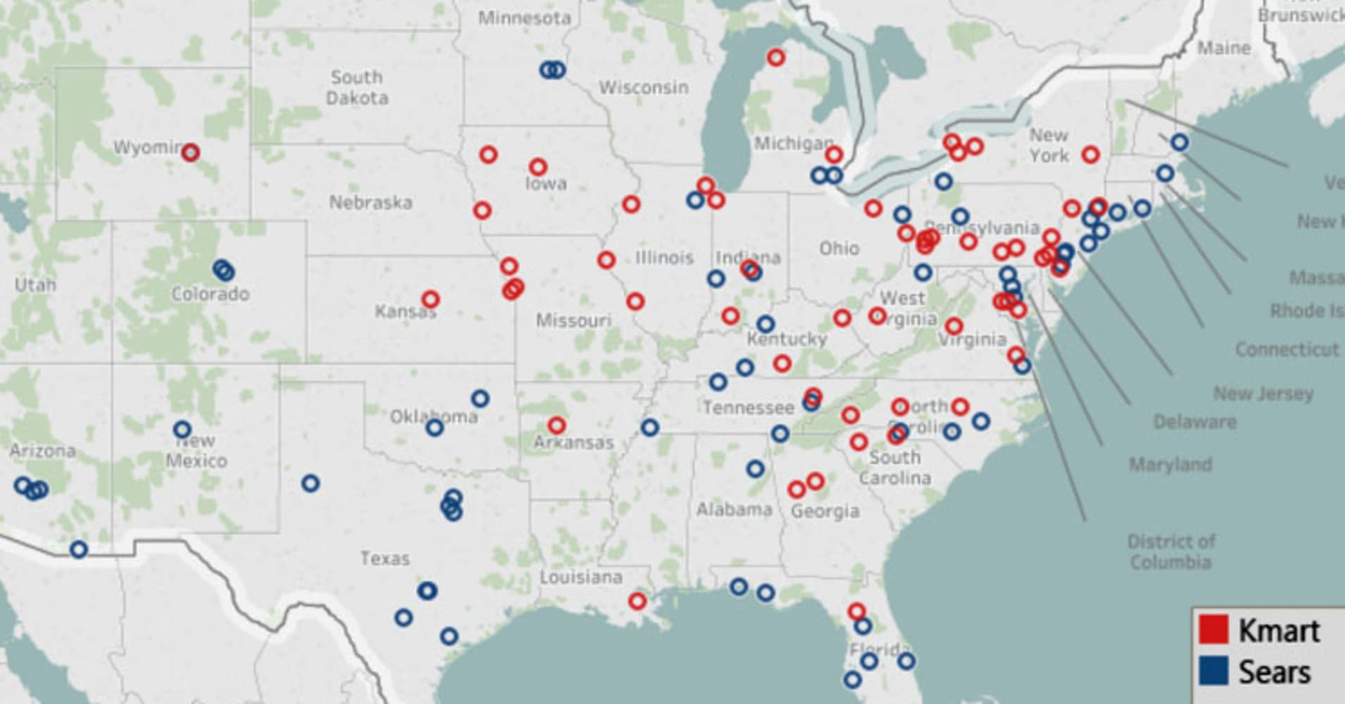 Here is a map of the 142 Sears and Kmart stores set to close