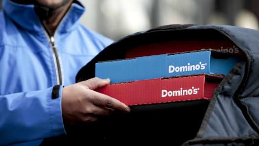 A Domino's Pizza delivery driver