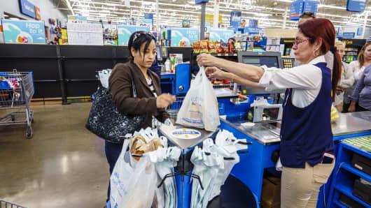 Woman shopping at  Wal-Mart