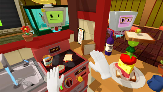 Job Simulator:  The 2050 archives is a virtual reality simulation video game
