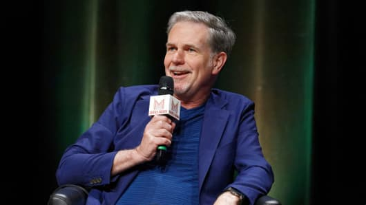 Netflix Co-founder, Chairman & CEO Reed Hastings attends Q&A during Transatlantic Forum as part of Series Mania Lille Hauts de France festival on May 3, 2018 in Lille, France.