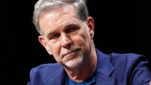 Netflix Co-Founder, Chairman and CEO Reed Hastings participates in questions and answers during a Transatlantic Forum in Lille, France.