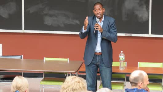 New York 19th District Democratic congressional candidate Antonio Delgado speaking to voters at a town hall.