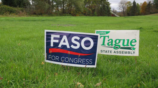 A campaign sign for Republican Rep. John Faso in New York's 19th District.