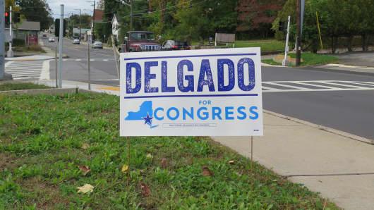 A campaign sign for Democratic congressional candidate Antonio Delgado in New York's 19th District.