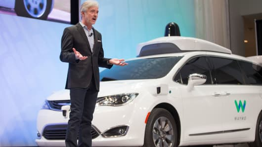 John Krafcik, CEO of Waymo speaks at a press conference at the 2017 North American International Auto Show in Detroit, Michigan, January 8, 2017.