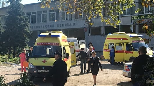 The site of a bomb blast at a college in the Crimean city of Kerch; at least ten people have been killed in the explosion, over fifty have been injured.