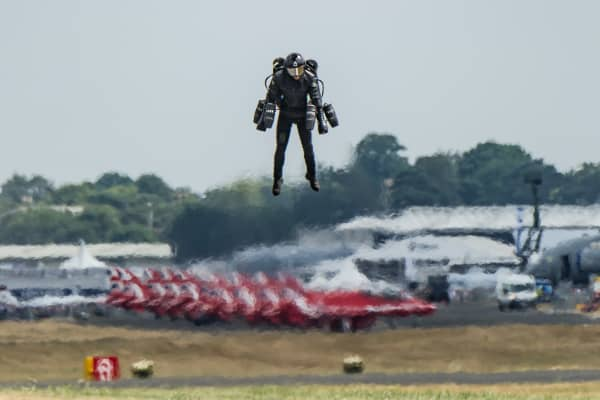 Richard Browning, CEO and Founder, flying in the Gravity Jet Suit.