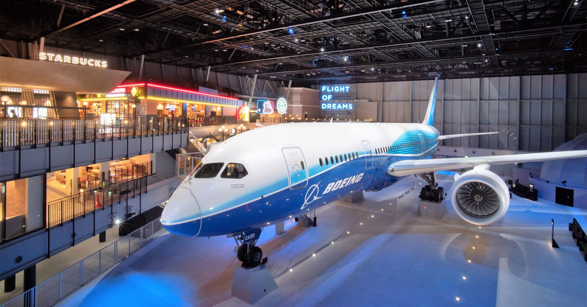 The first Boeing 787 Dreamliner test plane is the centerpiece of an aviation-themed park at a Japanese airport.