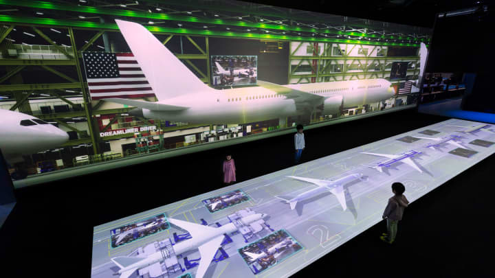 Animated virtual tour of Boeing's Everett WA factory tour.
