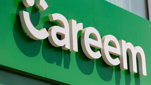 A Careem Networks FZ logo sits on the exterior of a driver support center at the ride-hailing company's headquarters in Dubai, United Arab Emirates.