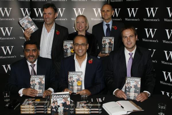 James Caan, Duncan Bannatyne, Theo Paphitis, Deborah Meaden, Evan Davis and Peter Jones attend the Dragons Den Book Signing at Waterstones on November 8, 2007 in London, England.