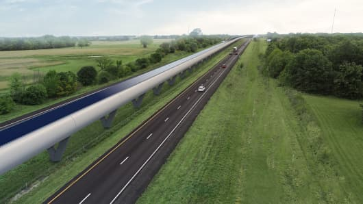 A mockup of what the Missouri hyperloop route would look like along Interstate-70, which was the first interstate in the U.S. highway system. A feasibility study says the route works well because it's flat, straight and would be built on government-owned land.