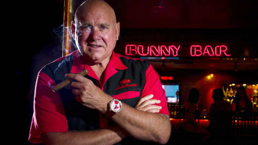 Dennis Hof, owner of the Moonlite Bunny Ranch, stands for a photograph inside the Moonlite Bunny Ranch in Mound House, Carson City, Nevada, on Tuesday, Aug. 20, 2013.