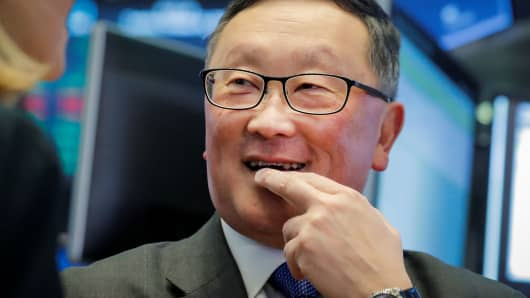 John Chen, Executive Chairman and CEO of BlackBerry Ltd, walks on the floor at the New York Stock Exchange (NYSE) in New York, October 16, 2018.