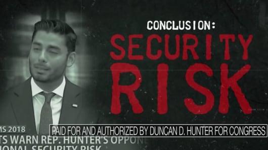 A screenshot from Rep. Duncan Hunter's attack ad against Democratic rival Ammar Campa-Najjar.