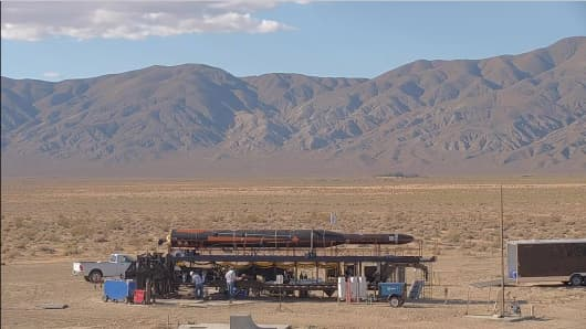 A Vector-R rocket on the company's mobile launch platform during testing.