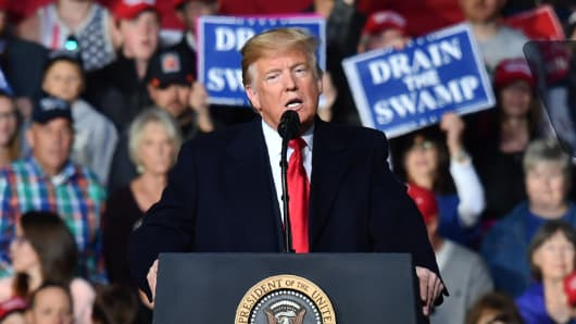 President Donald Trump speaks during a 'Make America Great' rally in Missoula, Montana, on October 18, 2018.