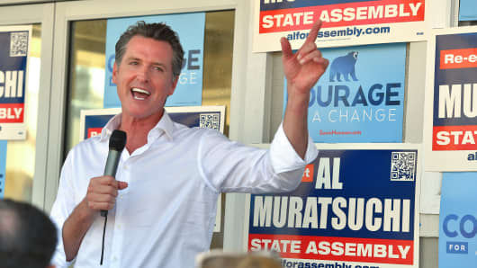 California Lt. Gov. Gavin Newsom greets supporters as he makes a campaign stop at Assemblyman Al Muratsuchi's re-election office on September 11, 2018 in Torrance, California.